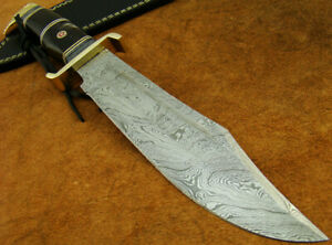 BEAUTIFUL HANDMADE DAMASCUS STEEL HUNTING BOWIE KNIFE W/SHEATH (4703-3