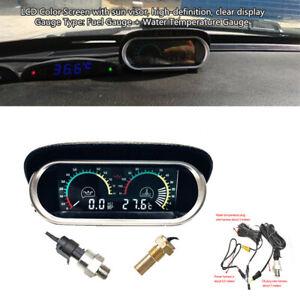 Car Truck LCD Digital  Water Temperature Oil Pressure Gauge Panel W/Sensor Part
