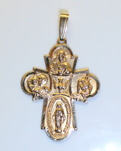 Gorgeous Highly Detailed Unisex 14K Gold Religious Collage Cross Pendant