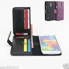 Galaxy S5 Credit ID Card Long Wallet Flip Leather Pouch Case Cover For Samsung