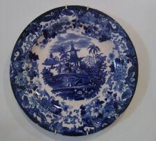 PIATTO in CERAMICA dipinto PAGODA CINESE, del 1800, bianco e blu