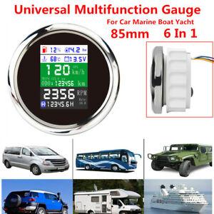 85mm Multi-function Gauge Car Yacht GPS Odometer Speedometer Tachometer Oil Temp