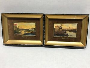 "Pair Of "" R. Comel ""Oil Paintings Gold and Black Frame with Felt Border"