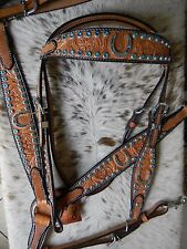 Teal Horseshoe Bling Premium Leather Western Horse Headstall & Breast Collar