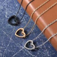 Frauen Mädchen Herz Charme Halsketten Anhänger Halsketten Schmuck Edelstahl C8Y0