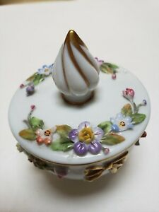 CAPODIMONTE PORCELAIN  GOLD TRIM FLORAL TRINKET BOX - With Makers Mark