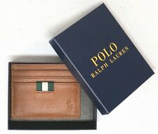 Polo Ralph Lauren Wallet Slim Card Case Mens Tan Brown Leather NWT NEW $80