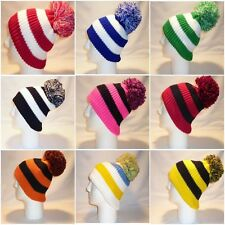 LUXURY FLEECE LINED BOBBLE HAT WOMENS MENS KIDS SPORTS WARM POM POM WINTER SNOW