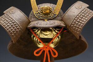 Vintage Beautiful Japanese Samurai Helmet -middle size- with a mask Tsushima