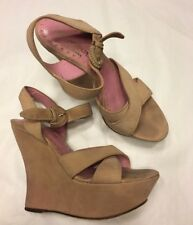 YVES SAINT LAURENT by TOM FORD blush pink suede strappy wedges heels 37 UK 4