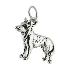 Husky Dog Charm - 925 Sterling Silver - Siberian Alaskan Sled Akita Pet New