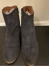 "Lucky Brand ""Basel"" Navy Blue Suede Leather Ankle Booties Us 9"