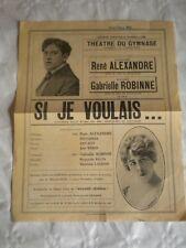 Vintage Programme Theatre du Gymnase Marseille Flyer poster 1925 Si je Voulais