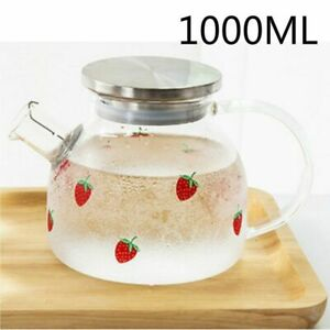 350ml Enamel Crystal Glass Teapot+6 Cup Sets Red Rose Flower Hot Cold Drinkware