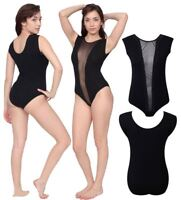 Ladies Plain Mesh Insert Panel Sleeveless Bodysuit Womens Black Leotard Top