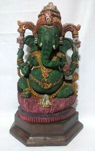 Ganesha Wooden Vintage Ganesh Sculpture Hindu God Ganpati Statue Temple Art Gift