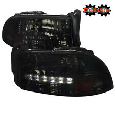 97-04 Dakota 98-03 Durango 1pc Headlights w/LED DRL Crystal Smoked Tinted Sport