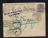 1922 England Cover to Germany Returned to Sender Zuruck