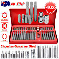 40Pc Allen Key Set Torx Hex Star Spline Drive Car Repair Tool Socket Bit 1/2 3/8