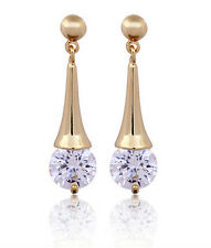 Beautiful 18 k Gold Plated White Water Drop Women Zircon Drop Stud Earrings E732