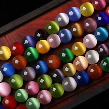 Colorful Cat Eye Gemstone Round Loose Bead Jewelry Making DIY