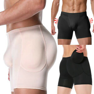 Mens Padded Hip Enhancer Slimming Boxer Brief Butt Lifter Pants Shaper Underwear