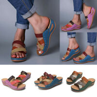 Women Sandals Wedge Heels Slipper Hollow-out Roman Slip On Round Toe Mules Shoes
