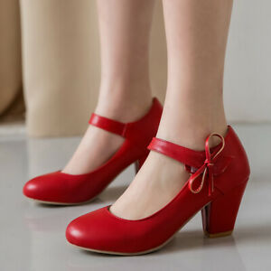 Women's Chunky Heel Pumps Shoes Sweet Bow Pointed Toe Dress Mary Janes US 6 Red