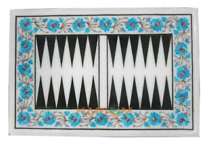 18''x24'' Marble Backgammon Table Top Turquoise Floral Inlay Playroom Decor W250
