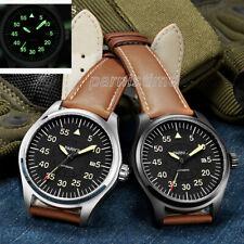 44mm Parnis Japan Automatic Men Sports Pilot Watch Luminous Mark Sapphire Glass