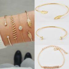 Women 4Pcs/Set Gold Leaf Simple Adjustable Open Crystal Bangle Bracelets Jewelry