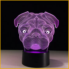 Night Light Table Desk Lamp Animal 3D Illusion Cute Pug Dog LED Kids Toy Gift