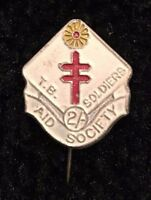 VINTAGE PIN BADGE AID SOCIETY TB SOLDIERS