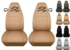 Fits Chevrolet Camaro  front car seat covers solid tan w/bowtie+camaro/RS/SS..
