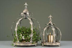 XXL NOSTALGISCHE DEKO-Krone Metall Shabby chic Vintage Gold Landhaus Antik Lilie