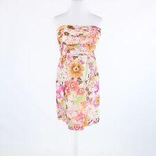 Pink orange abstract floral cotton blend J. CREW strapless sheath dress 10