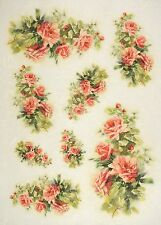 Rice Paper -Red Roses- for Decoupage Decopatch Scrapbook Craft Sheet Vintage