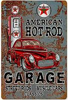 Texaco Americana Hot Rod Garage Arrugginiti Metallo Firmare 450mm x 300mm (Pst)