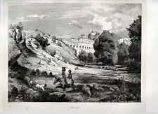 Stampa antica ARICCIA veduta panoramica e Palazzo Chigi Roma 1876 Old print