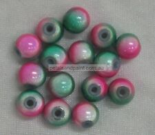 15 New Glass Beads 8mm Pink & Green Two Tone Bead For Beading & Jewellery FB001
