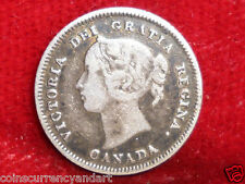 1883 H 5 Cents CANADA  Queen Victoria  Beautiful Coin