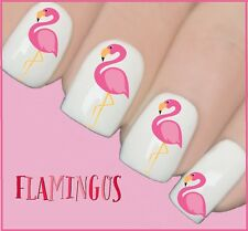 PINK FLAMINGO SUMMER Nail Art Decals acqua trasferimento adesivi Wraps Y147