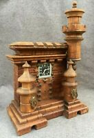 Large antique black forest clock castle shape woodwork early 1900's Germany 8lb