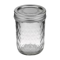Ball 1440081200 Jelly Jars, 8 Oz, Regular Mouth, Quilted Crystal Design