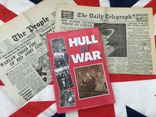 'HULL AT WAR' H/B Book + 2 REPLICA wartime papers ~1940s social history