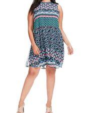 Taylor Dresses Sleeveless Chiffon Swing Dress In Mixed Print Size 14W