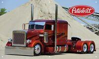 Custom Red Peterbilt Truck 3'X5' VINYL BANNER GARAGE DIESEL TURBO MAN CAVE SEMI