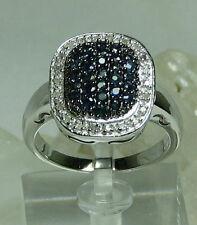 SHOPNBC Gem Treasures Sterling Silver 1ctw Blue Sapphire & Diamond Pave SZ 10