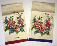 Pair Matching Red Blue Floral Vintage Linen Tea Towels NWT Cottage 1950s Style