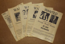 Set  5 Gangster Wanted Posters Pretty Boy Floyd, Bugsy Siegel, Bugs Moran, more